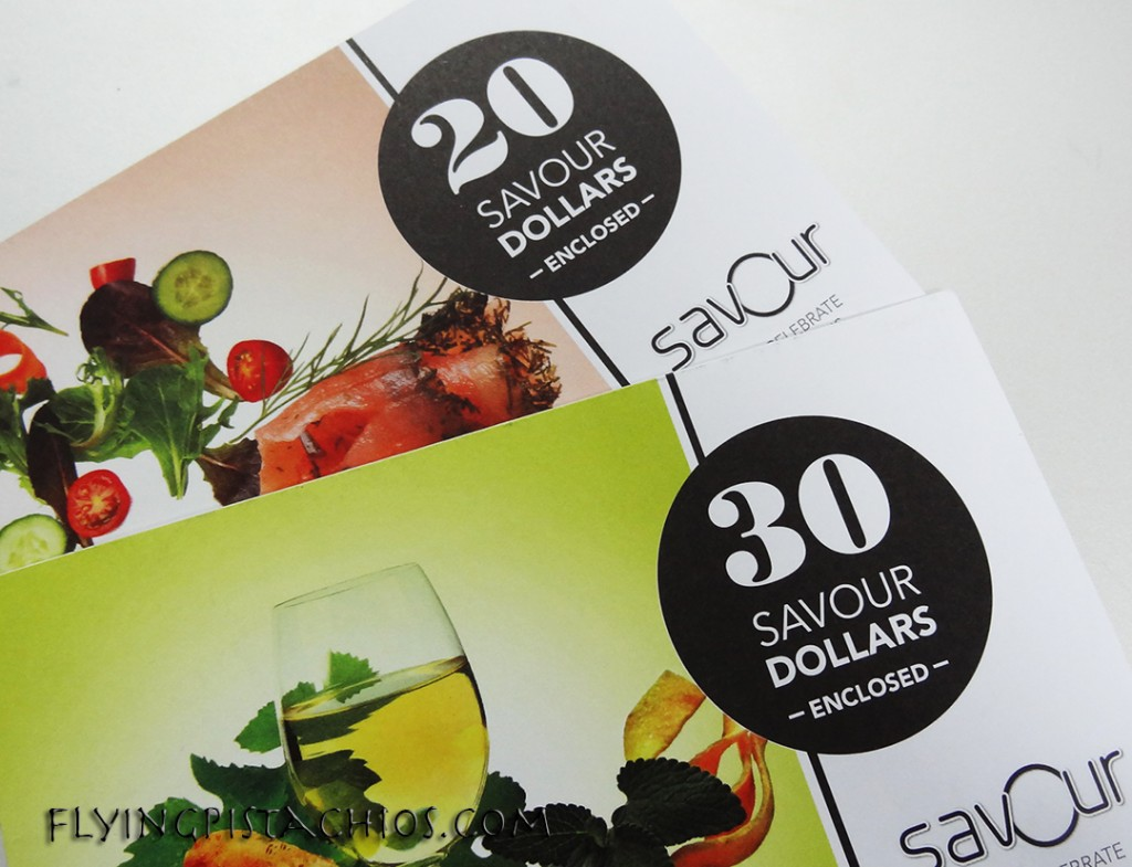 Your Savour Dollars comes in either packs of $20 or $30, so plan well!
