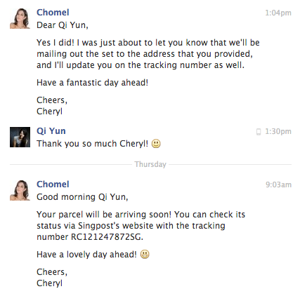 Updates! They even sent me the tracking number, so thoughtful!