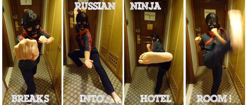 Russian Ninja breaking into the hotel room!