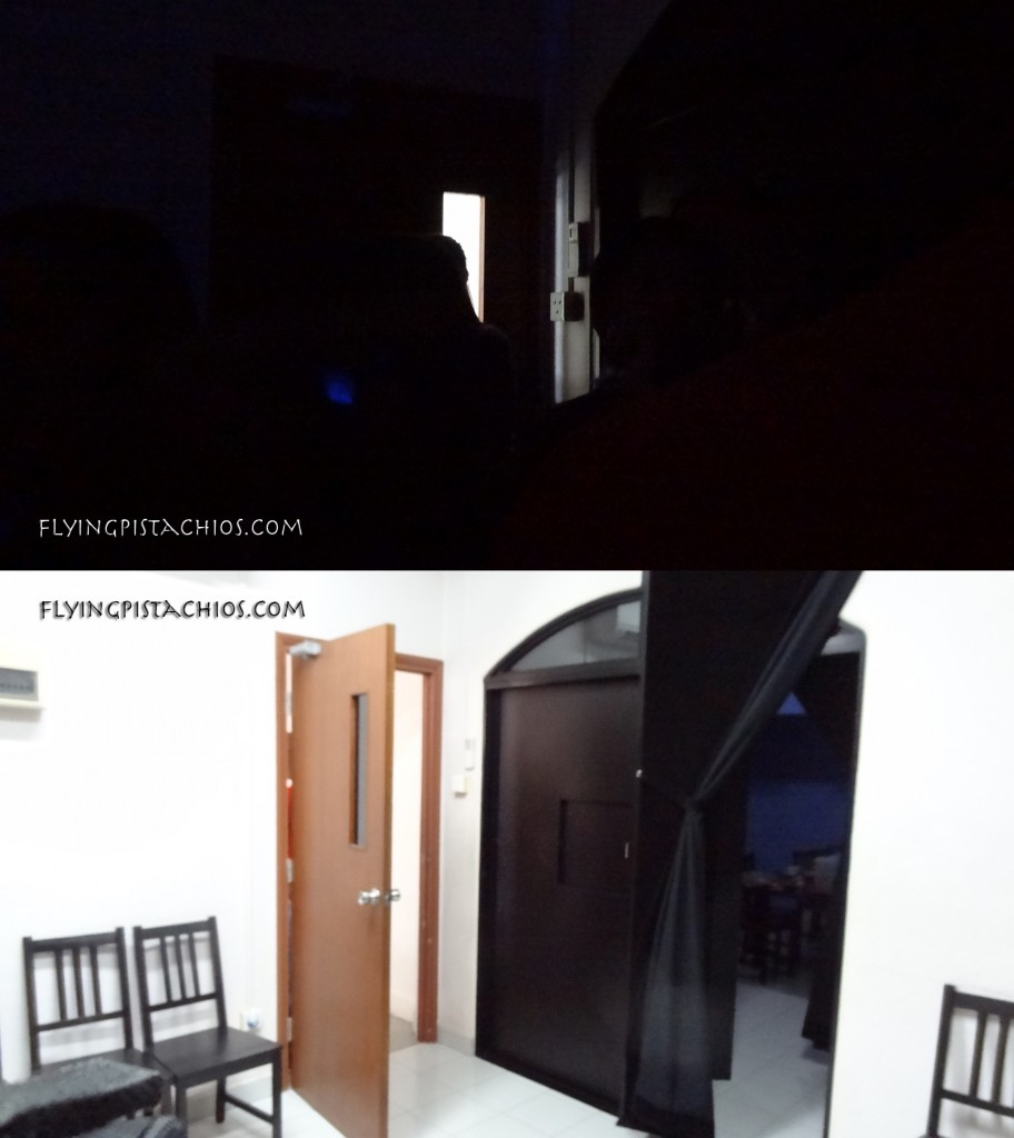 And this was the holding room we entered before being led into the dark room. Before and After!