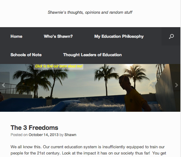A screenshot from Shawnie's blog!