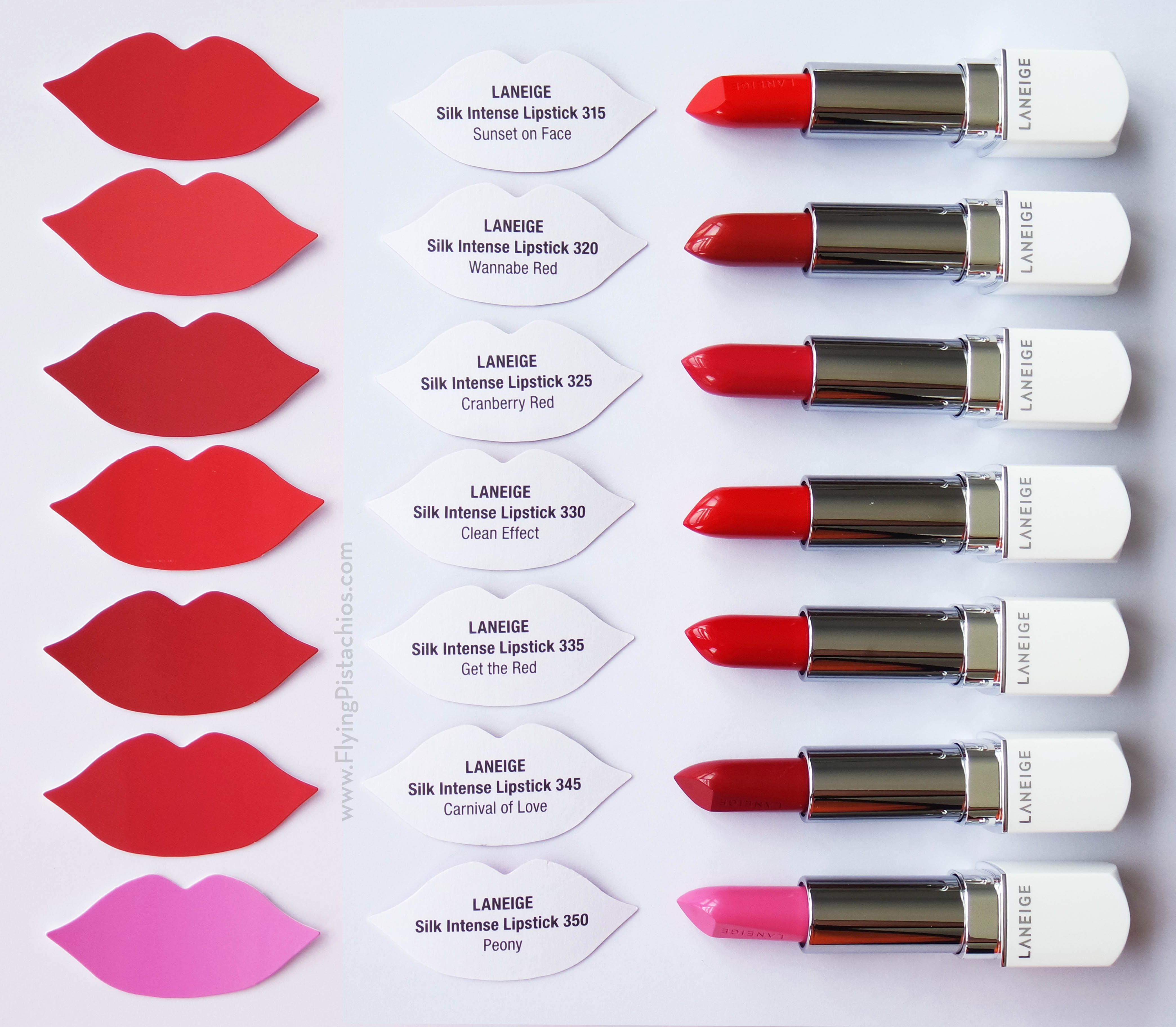 LANEIGE Silk Intense Lipstick Swatches (all 35 colours